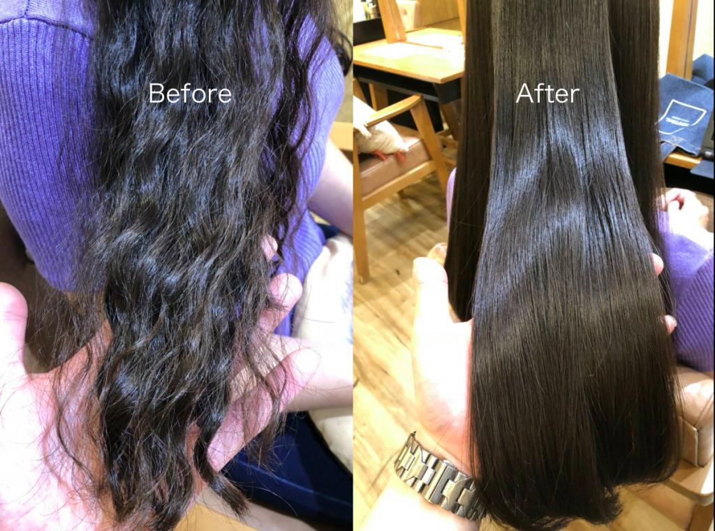 パーマ失敗した髪と対処後の髪の写真
