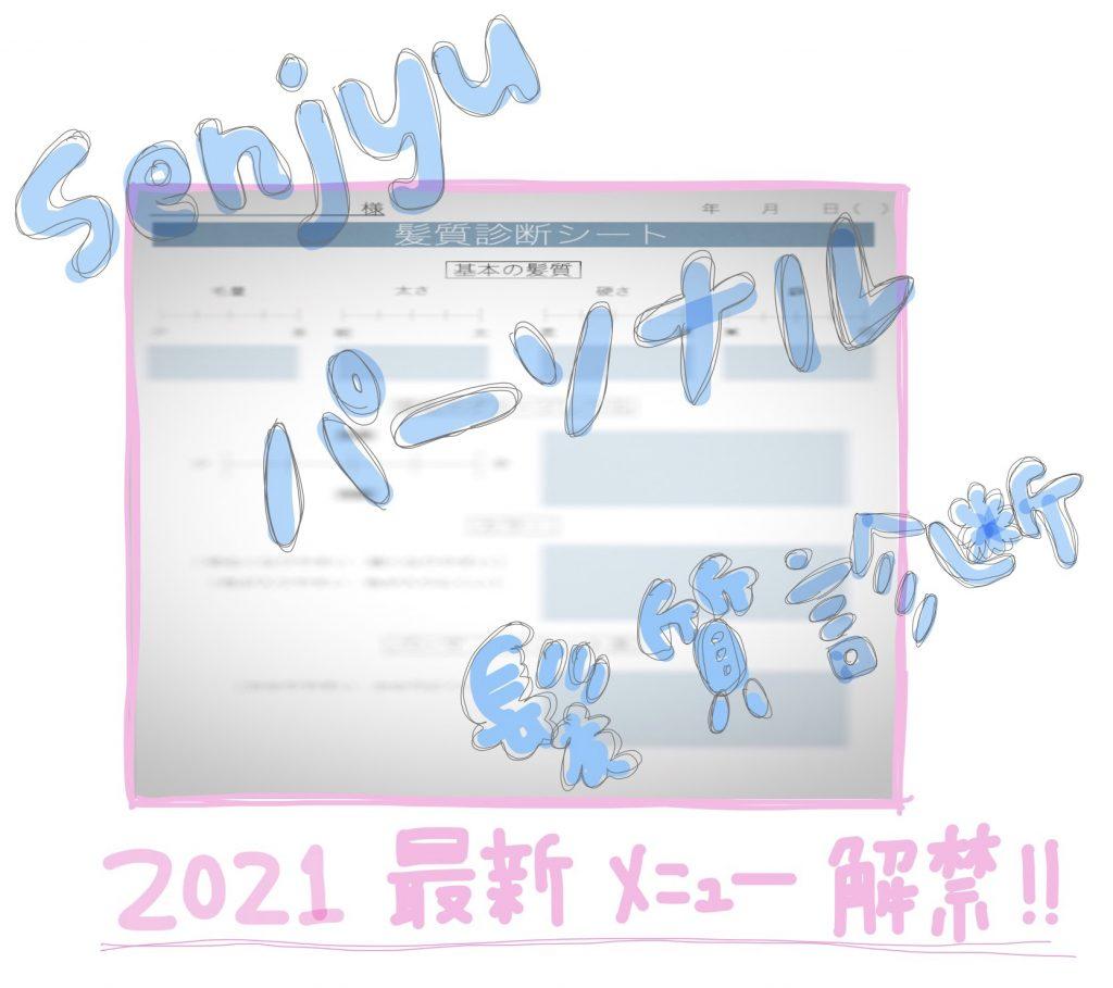 ☆2021年最新メニュー!【 Senjyu パーソナル髪質診断 】完成☆
